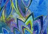 Blue Lotus by Cynthia Barlow Marrs, Painting, Acrylic glazes and cut papers on water colour paper