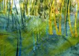 Blue Marsh by Cynthia Barlow Marrs, Painting, Gouache and cut papers on paper