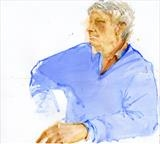 Blue Sweater by Cynthia Barlow Marrs SGFA, Drawing, Watercolour on paper