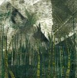 Brown Nile by Cynthia Barlow Marrs, Painting, Printmakers' ink and cut papers on paper