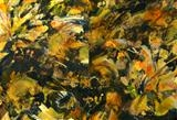 Firefly 1 & 2 by Cynthia Barlow Marrs SGFA, Painting, Gesso, drawing ink and acrylic glazes on canvas
