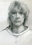 Head Study by Cynthia Barlow Marrs SGFA, Drawing, Graphite and pastel on grey velour paper