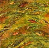 Leaf Fall 8 by Cynthia Barlow Marrs SGFA, Painting, Drawing ink, acrylic glazes and cut papers on canvas