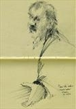 Pierre at Essie's book signing by Cynthia Barlow Marrs SGFA, Drawing, Graphite in A5 Moleskine sketchbook