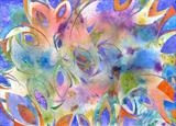 Pinwheel by Cynthia Barlow Marrs, Painting, Acrylic glazes and hand-coloured papers on water colour paper