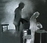 Shadow Play by Cynthia Barlow Marrs, Drawing, Charcoal, conte and cut paper on paper