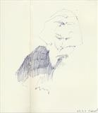 Tania Hershman at the Besty Trotwood by Cynthia Barlow Marrs SGFA, Drawing, Ballpoint pen in A5 Moleskine sketchbook