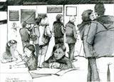 The Reading Contemporary Art Fair 2013 by Cynthia Barlow Marrs SGFA, Drawing, Pigment liner and wash pen