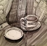 The missing biscuit by Cynthia Barlow Marrs SGFA, Drawing, Pigment liner and wash pen in A6 sketchbook