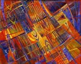 Urban Fringe by Cynthia Barlow Marrs, Painting, Hand-coloured papers on water colour board