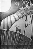 Winter Stag 3 by Cynthia Barlow Marrs, Drawing, Graphite on paper