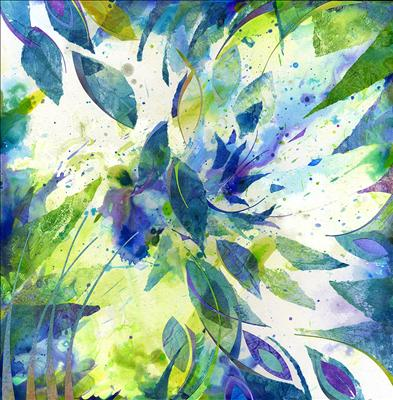 Blue Clematis by Cynthia Barlow Marrs, Painting, Collage