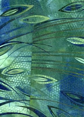 Blue Gill by Cynthia Barlow Marrs SGFA, Drawing, Ink and cut papers on paper