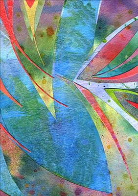 Blue Leaf by Cynthia Barlow Marrs, Painting, Collage