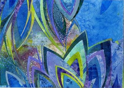 Blue Lotus by Cynthia Barlow Marrs, Painting, Acrylic and cut papers on watercolour paper