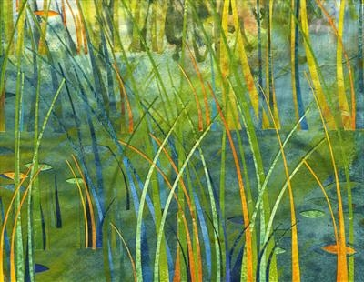 Blue Marsh by Cynthia Barlow Marrs SGFA, Drawing, Gouache, ink and cut papers on paper