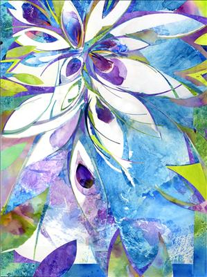 Blue Sun Orchid by Cynthia Barlow Marrs, Painting, Acrylic glazes on papers on canvas board