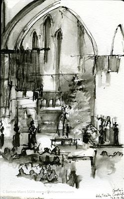 Carols by candlelight 2015 by Cynthia Barlow Marrs SGFA, Drawing, Bent-nib calligraphy pen and water brush in Moleskine watercolour sketchbook