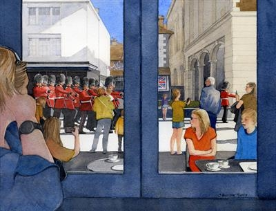 Changing of the Guard in Windsor High Street by Cynthia Barlow Marrs SGFA, Painting, Watercolour on Paper