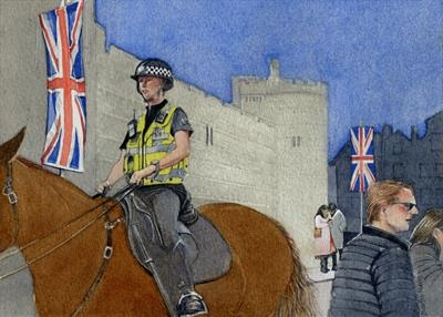 Crowd Management with Mounted Police by Cynthia Barlow Marrs SGFA, Painting, Watercolour on Paper