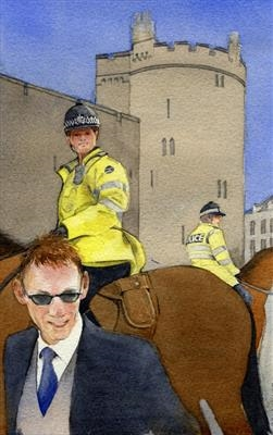 Crowd Patrol with Mounted Police by Cynthia Barlow Marrs SGFA, Painting, Watercolour on Paper