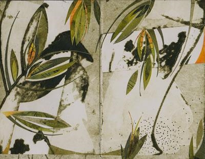 Darjeeling 2 by Cynthia Barlow Marrs SGFA, Drawing, Ink and cut papers on collagraph