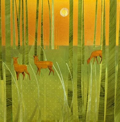 Deer Park by Cynthia Barlow Marrs SGFA, Painting, Acrylic and cut papers on canvas