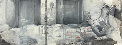 Double portrait with triple wardrobe by Cynthia Barlow Marrs SGFA, Drawing, Ink and wash in sketchbook