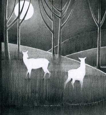 Dream Deer by Cynthia Barlow Marrs SGFA, Drawing, Graphite on paper