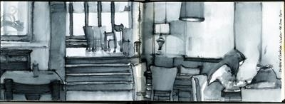Duchess of Cambridge Pub, Windsor by Cynthia Barlow Marrs SGFA, Drawing, Pen and water brush in A6 sketchbook