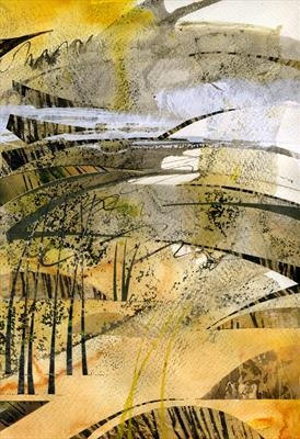 Estuary by Cynthia Barlow Marrs, Painting, Ink, gouache and cut papers on paper.