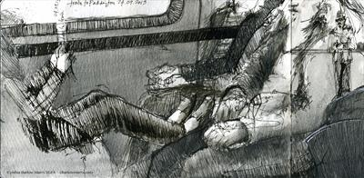 Feet up on the Paddington train by Cynthia Barlow Marrs SGFA, Drawing, Pigment liner pen in sketchbook