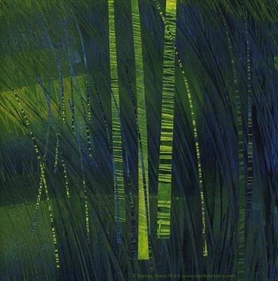 Firefly Grass by Cynthia Barlow Marrs SGFA, Drawing, Ink and cut papers on paper