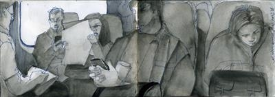 Five o'clock shadow by Cynthia Barlow Marrs SGFA, Drawing, Graphite, pen and water brush in A6 sketchbook