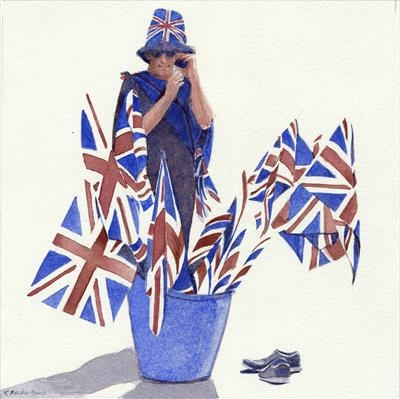 Flag Seller with Hat and Shoes by Cynthia Barlow Marrs SGFA, Painting, Watercolour on Paper