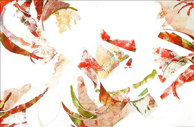 Flame Tree (diptych) by Cynthia Barlow Marrs, Painting, Gesso and hand-coloured papers on two box canvases