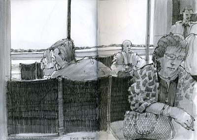 Gate 76 by Cynthia Barlow Marrs SGFA, Drawing, Pigment liner pen and wash pens in A5 sketchbook