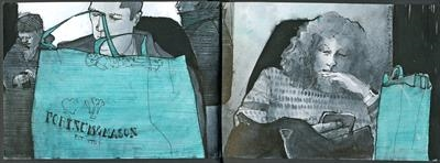 Home from the shops by Cynthia Barlow Marrs SGFA, Drawing, Pen and ink in A6 sketchbook