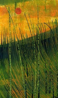 Horsetail Grass 2 by Cynthia Barlow Marrs SGFA, Drawing, Ink and cut papers on paper