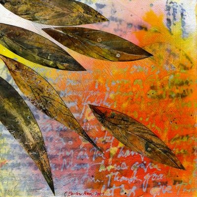 Instructions to the Gardener on the Burning of Leaves by Cynthia Barlow Marrs, Painting, Acrylic glazes and hand-coloured papers on canvas