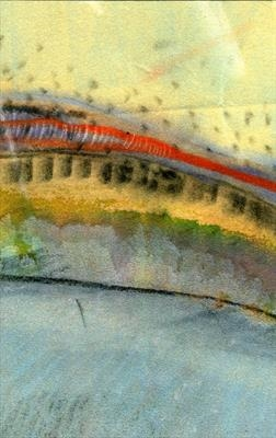Jade Mountain 3 by Cynthia Barlow Marrs SGFA, Drawing, Pastel, ink and marker on velour paper