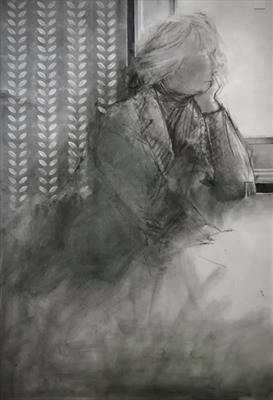 Judith by Cynthia Barlow Marrs SGFA, Drawing, Charcoal and ink on paper