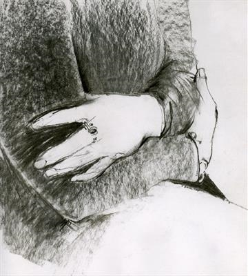Judith's Hands 1 by Cynthia Barlow Marrs SGFA, Drawing, Charcoal on Paper