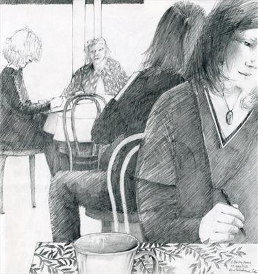 Kew Greenhouse Cafe by Cynthia Barlow Marrs SGFA, Drawing, Graphite in square sketchbook