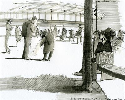 Kings Cross Station, London by Cynthia Barlow Marrs SGFA, Drawing, Pen and wash pen in A4 sketchbook
