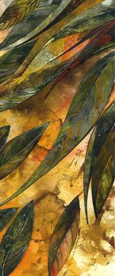 Leaf Fall 1 by Cynthia Barlow Marrs, Painting, Gesso, inks and gouache on water colour paper