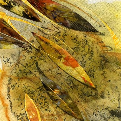 Leaf Fall 4 by Cynthia Barlow Marrs, Painting, Drawing ink and printing ink and cut papers on paper