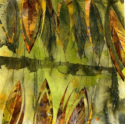 Leaf Fall 5 by Cynthia Barlow Marrs, Painting, Acrylic and drawing ink on water colour paper1