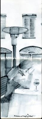 Lunch in Bergamo by Cynthia Barlow Marrs SGFA, Drawing, Pen and water brush in A6 sketchbook