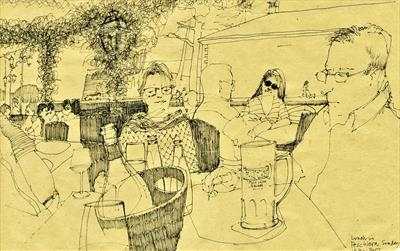 Lunch in Peschiera by Cynthia Barlow Marrs SGFA, Drawing, Pen on Paper